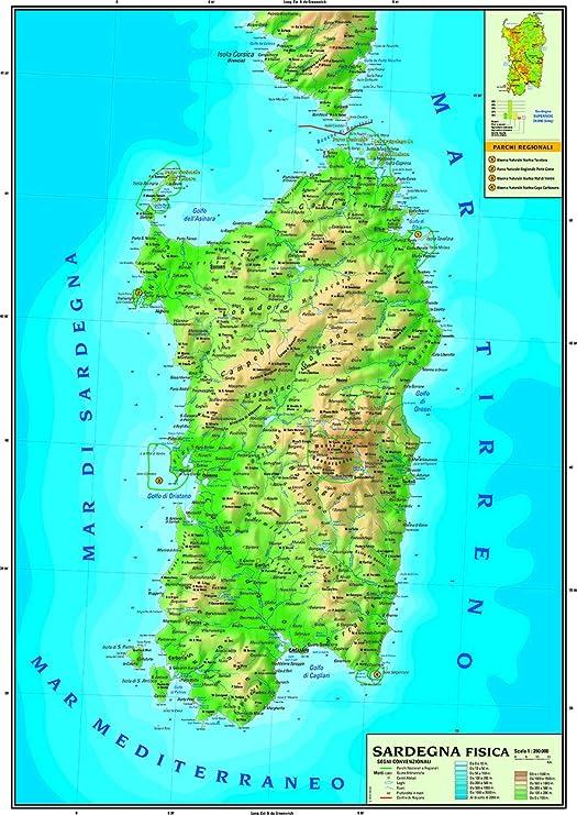 Cartina Dettagliata Sardegna.Carta Geografica Murale Regionale Sardegna 100x140