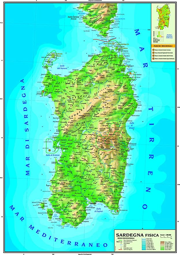 Sardegna Cartina Geografica.Carta Geografica Murale Regionale Sardegna 100x140