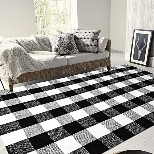 BBONNIE Buffalo Plaid Rug Black and White Checkered Rug Cotton Area Rugs 5 x7 Farmhouse Hand-Woven Runner Rugs for Bedroom Living Room