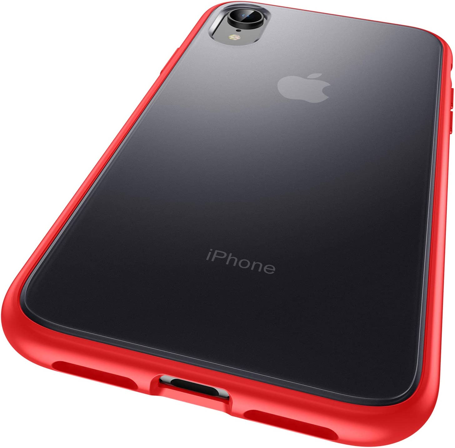 """Meifigno Magic Series iPhone XR Case, [Certified Military Protection][Agile Button], Translucent Matte PC + Soft Edges, Shockproof Protective Half Clear Phone Cover Case for Apple iPhone XR 6.1"""", Red"""