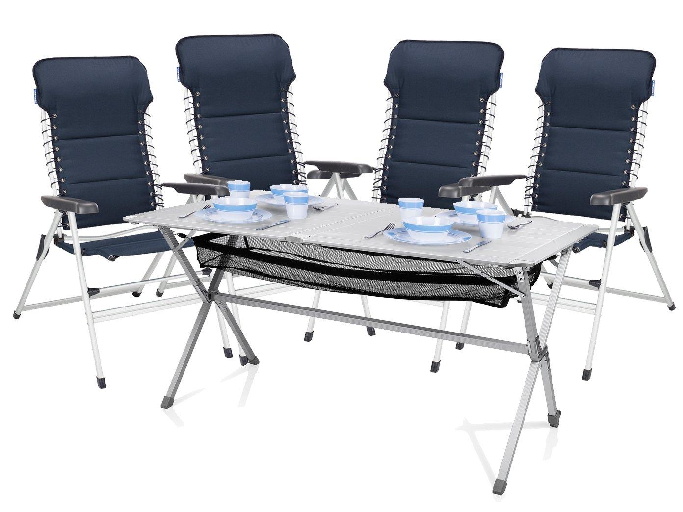 Luxus Camping Set - Alu Campingtisch groß mit Komfort Stühlen leicht und klappbar – einfach zu verstauen