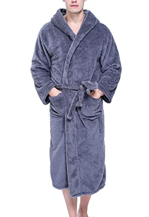 f4021c64b9 Flygo Men s Sherpa Lined Flannel Long Bathrobe Sleepwear with Hoodie  (X-Small