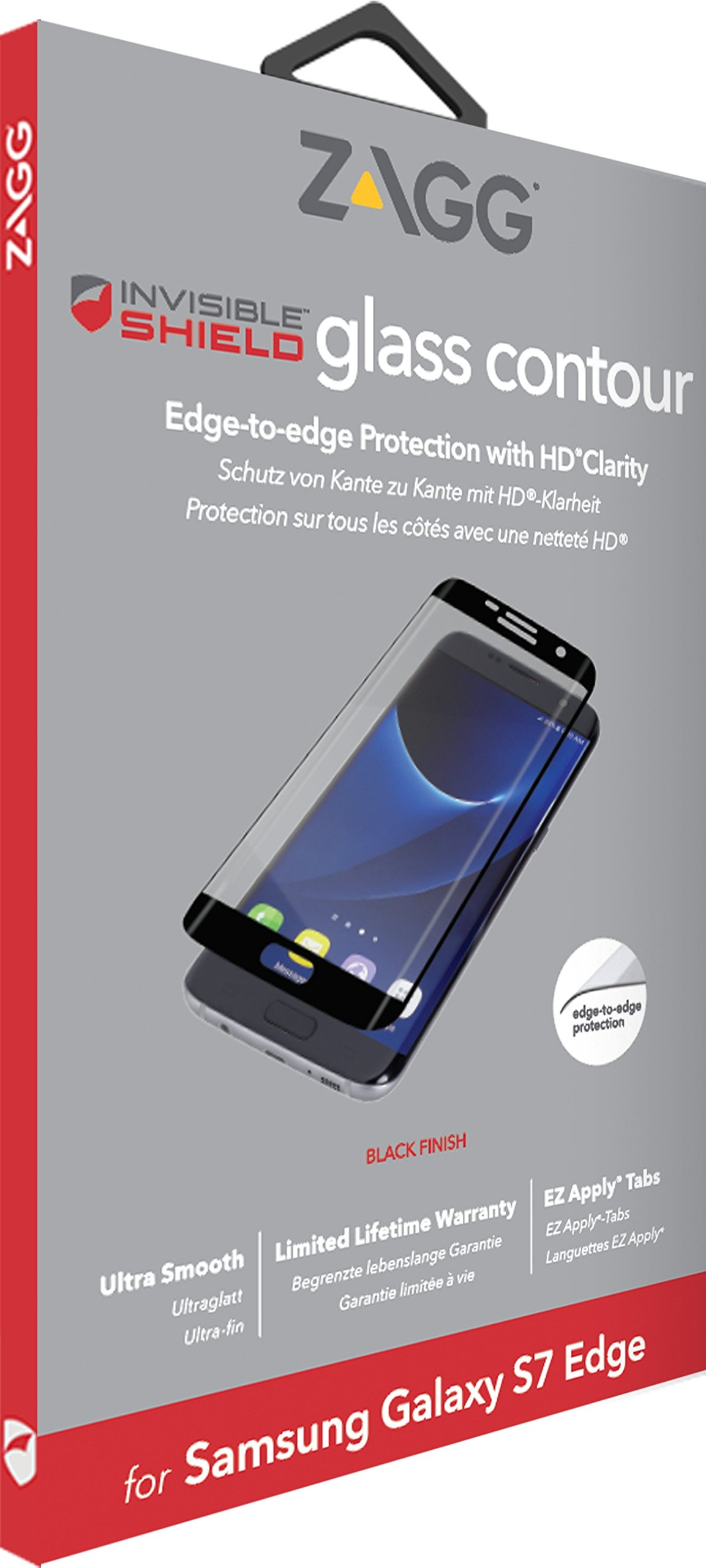 ZAGG InvisibleShield Curved Glass Screen Protector for Samsung Galaxy S7  Edge - Black by ZAGG (Image #2)