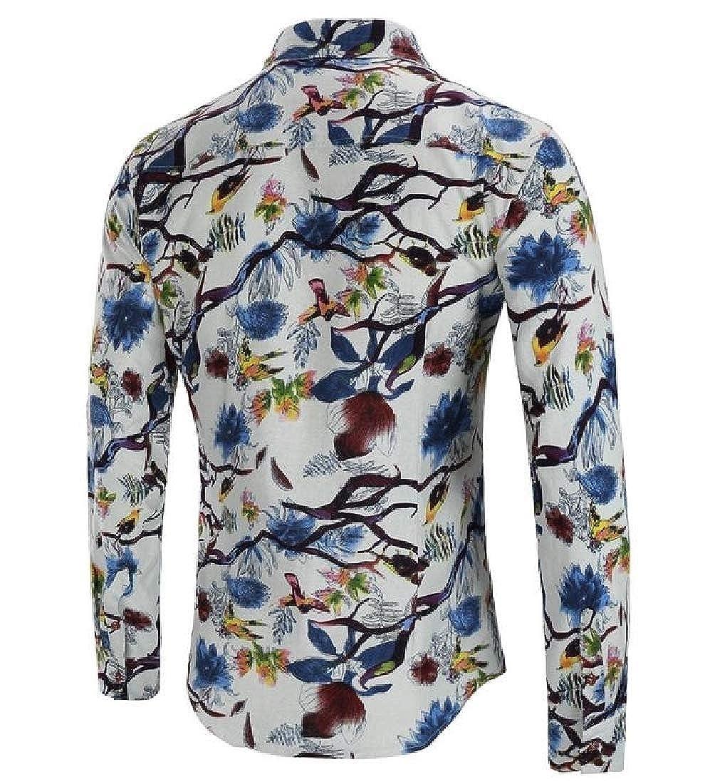 VITryst-Men Business Turndown Collar Roll Sleeve Plaid Dressy Tees