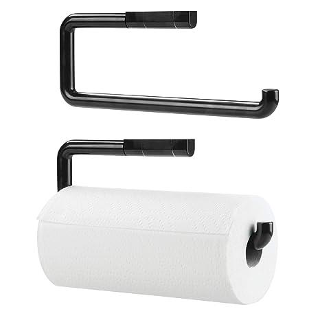 mDesign Portarrollos de papel de cocina fabricado en plástico resistente – Dispensador de papel de cocina