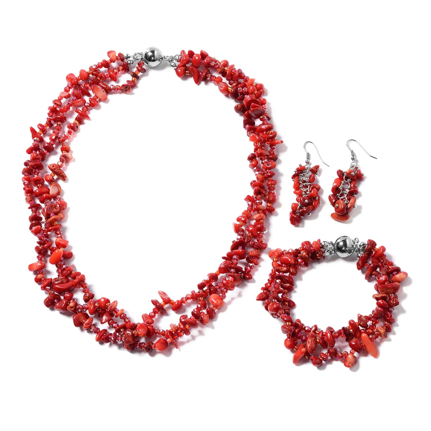 Silvertone, Stainless Steel Fancy Dyed Coral, Red Glass Bracelet 8'' Earring Necklace 20'' Set for Women