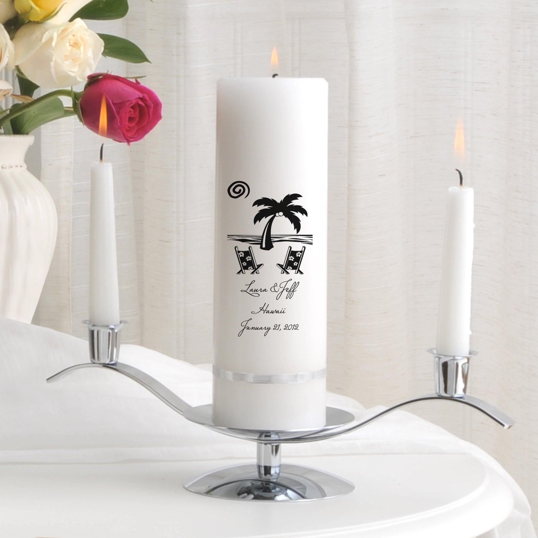 Personalized Wedding Unity Candle - Personalized Unity Candle Set - Destination