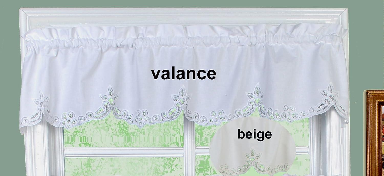 amazoncom battenburg lace kitchen curtain valance ecru beige by creative linens home u0026 kitchen