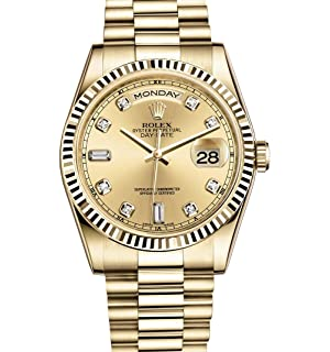 61ec71ff6fd ROLEX DAY-DATE PRESIDENT 36MM YELLOW GOLD WATCH WITH DIAMOND DIAL FLUTED  118238