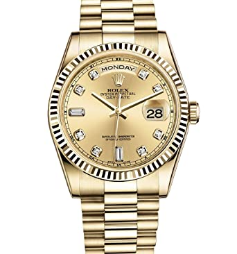 15efea3df07d Amazon.com  ROLEX DAY-DATE PRESIDENT 36MM YELLOW GOLD WATCH WITH DIAMOND  DIAL FLUTED 118238  Watches