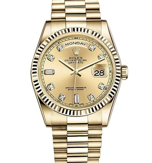Rolex Day-Date Presidente 36 mm oro amarillo reloj con diamante Dial Estriado 118238