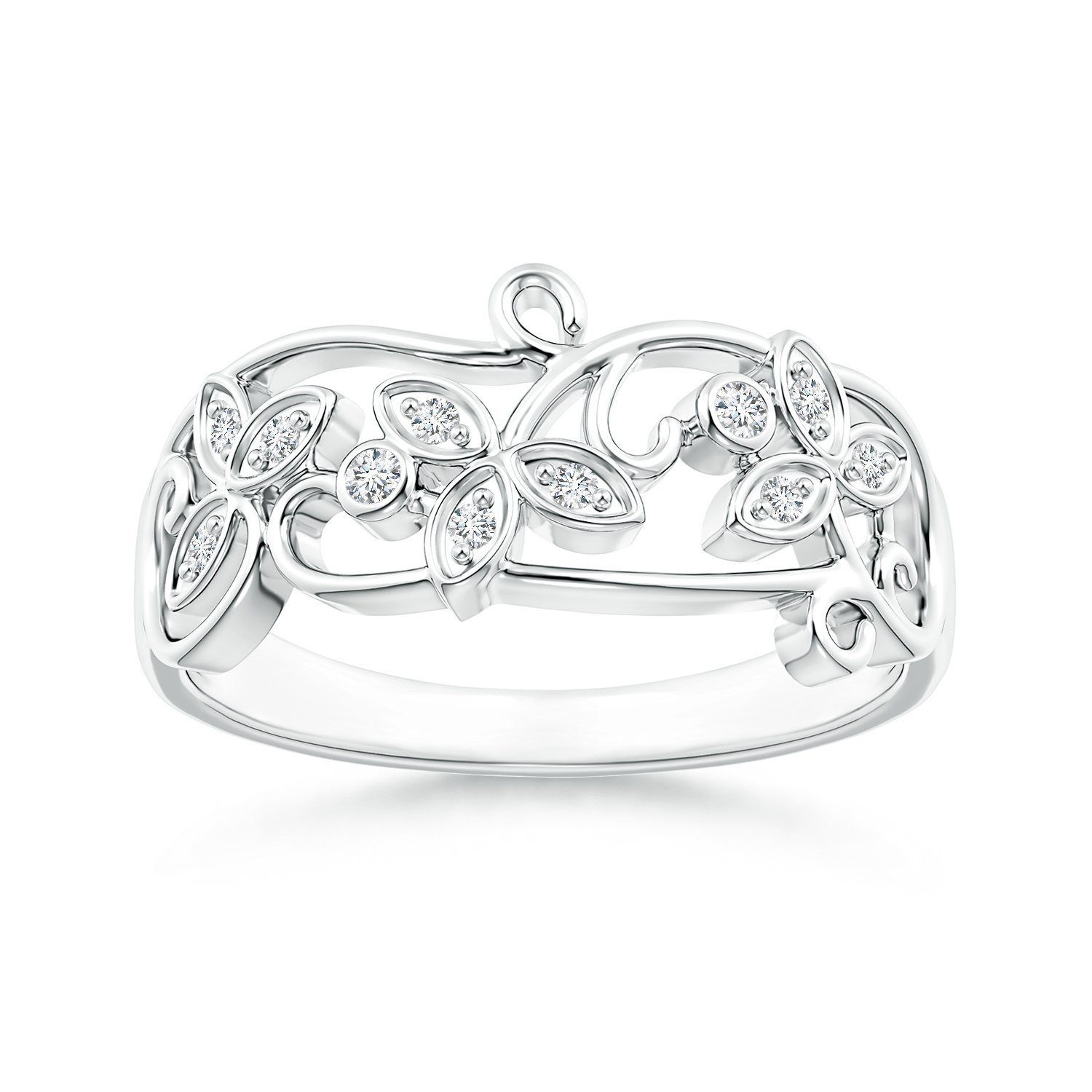 Vintage Style Diamond Flower Scroll Ring in 14K White Gold (Color: G, Clarity: VS2)