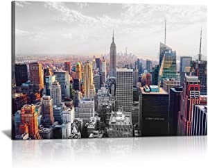 New York Gallery Wrap Canvas Print Wall Art Cityscape Picture Skyline of United States Photo Modern NYC Painting for Living Room Office Wall Decor Easy to Hang 24