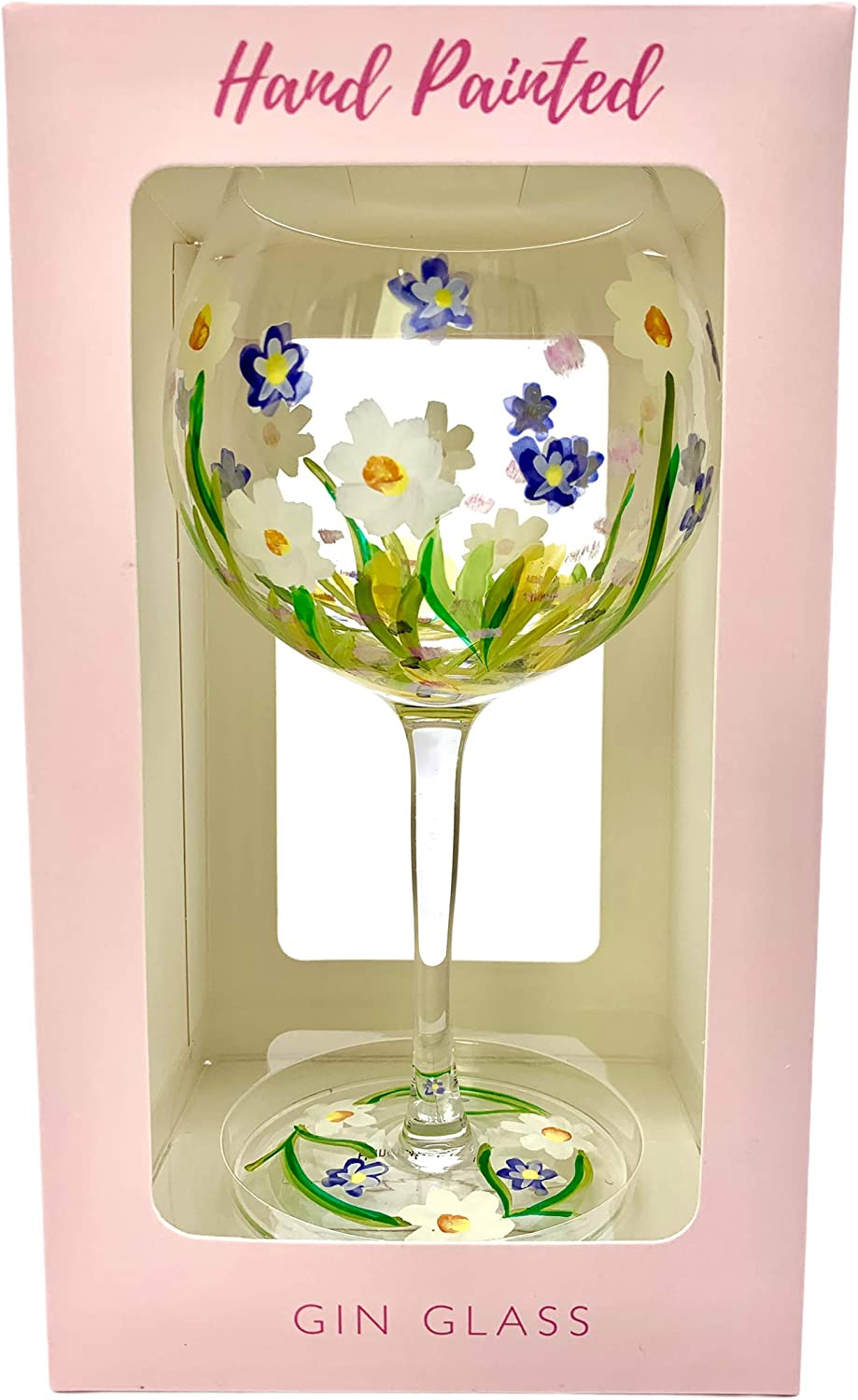 Truenova Hand Painted by Lynsey Johnstone Dainty Daisies Balloon Gin Glass Gift Boxed