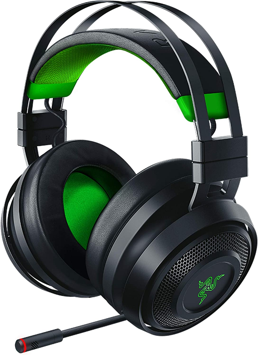 Razer Nari Ultimate for-Xbox One Wireless 7.1 Surround Sound Gaming Headset: Hypersense Haptic Feedback - Auto-Adjust Headband - Green Lighting - Retractable Mic - For-Xbox One - Classic Black/Green
