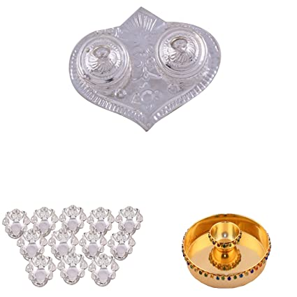 Buy Silver Plated Pan Kumkum Plate Silver Plated Set Of 12 Lotus