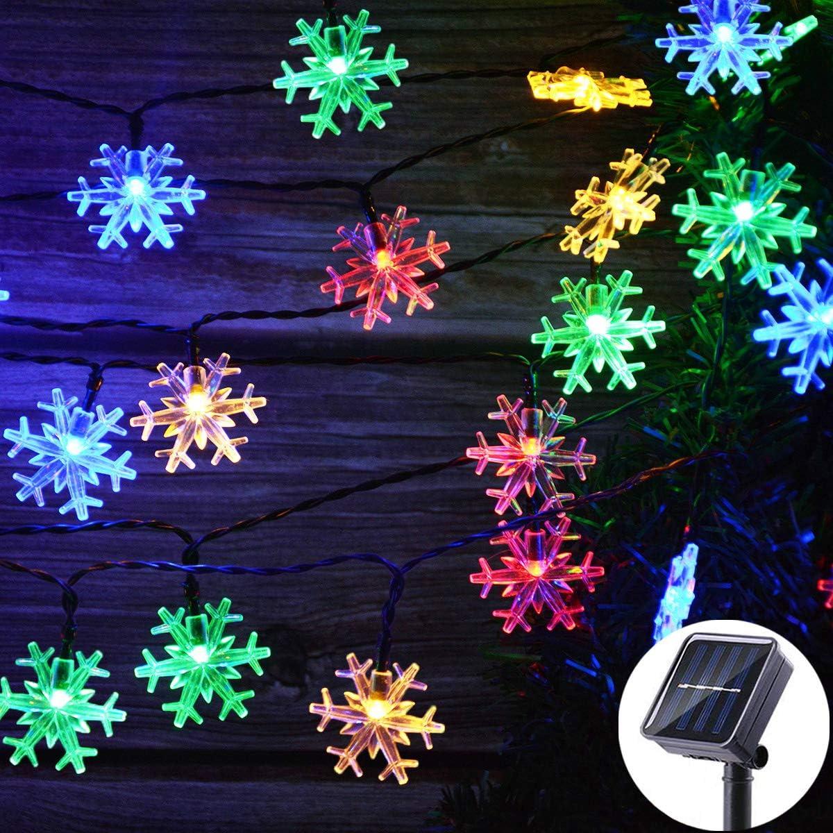 Viewpick Solar Christmas Snowflake String Lights, 50 LED Multicolor Christmas Fairy Lights Waterproof Solar Christmas Lights Outdoor Crystal Decor Lights for Christmas Tree Railing Garden Fence Decor