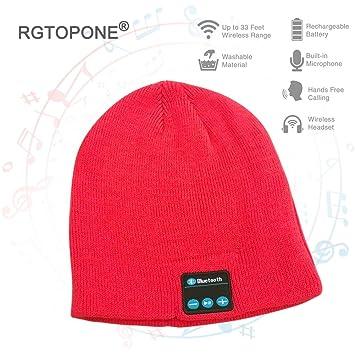 RGTOPONE Unisexo Bluetooth Gorra Gorrita Tejida De La Música De Moda Auriculares Inalambricos Sombrero Manos Libres