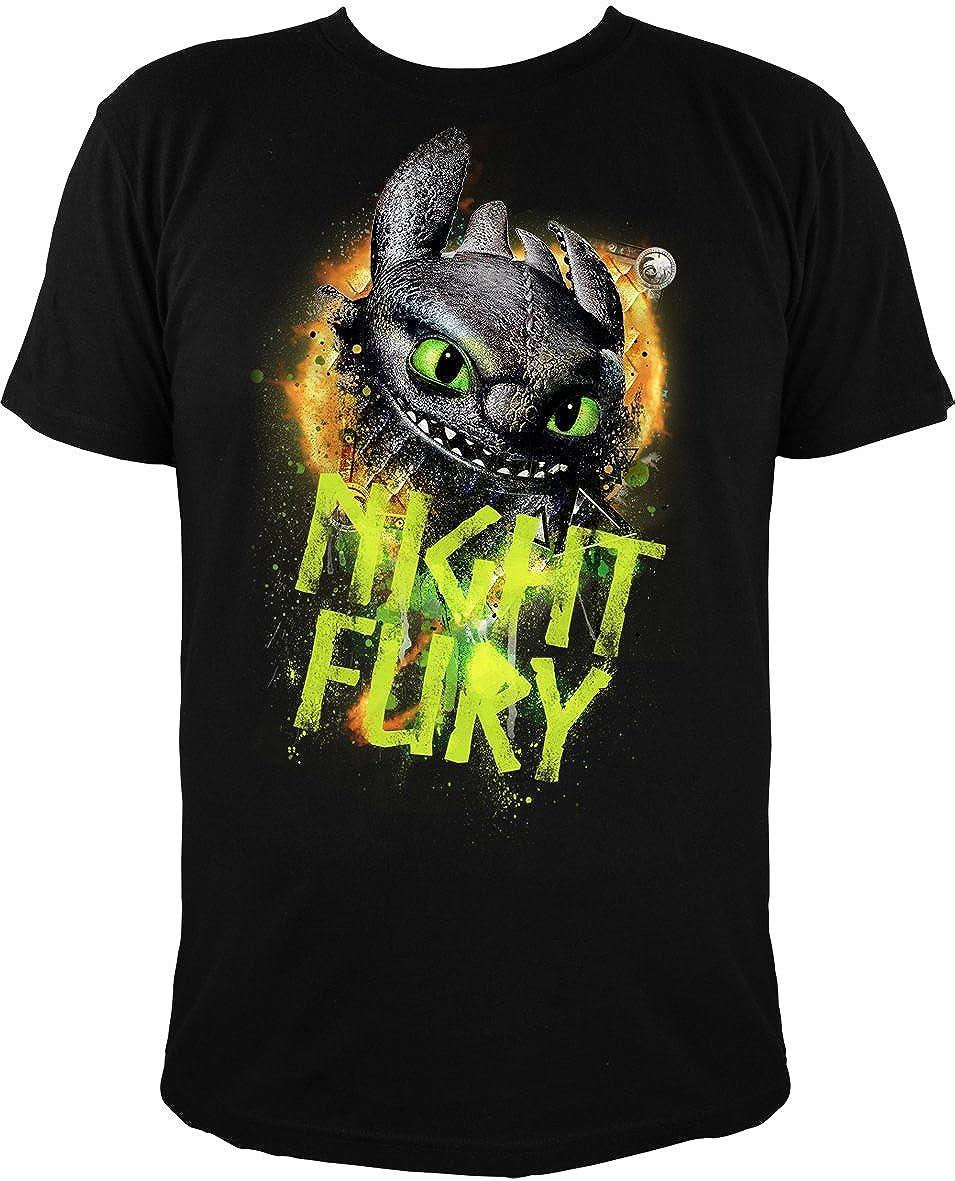 f2c73746 Drgons DreamWorks Dragons Children's Glow T-Shirt Toothless Night Fury,  Writing Glows In The Dark, Black