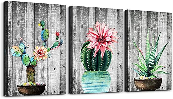 Green plants cactus potted Picture Wall Art for living room Canvas Prints Artwork bathroom Wall Decor Wood grain Watercolor painting 3 piece Framed bedroom wall decorations kitchen Wall painting