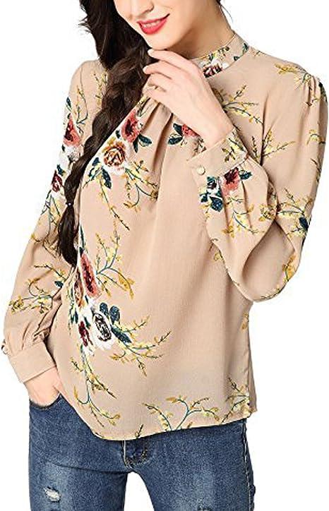 LAEMILIA T Shirt Blouse Femme Imprimé Fleurie Col Rond