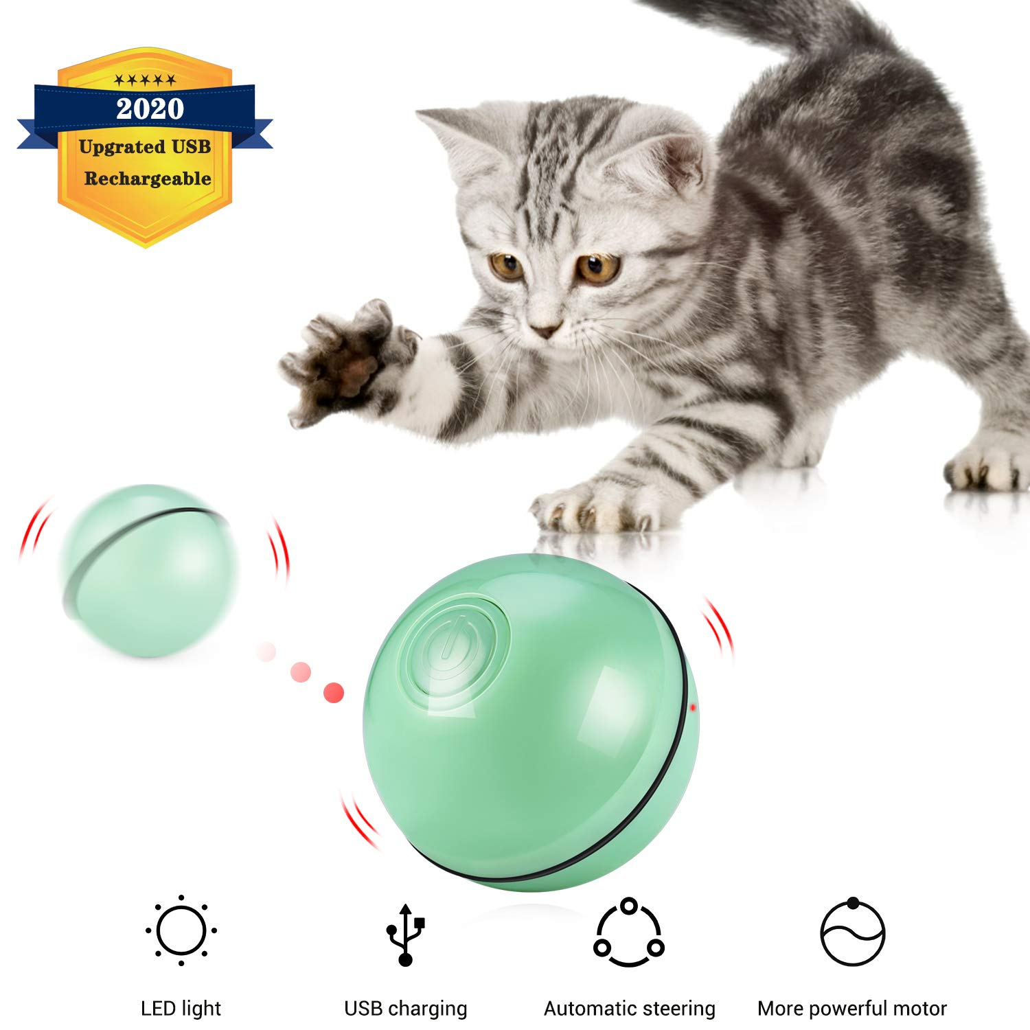 Kitty Loving Interactive Cat Toys Balls, Upgrated USB Rechargeable& Automatic 360 Degree Self-Rotating Ball with Red LED…
