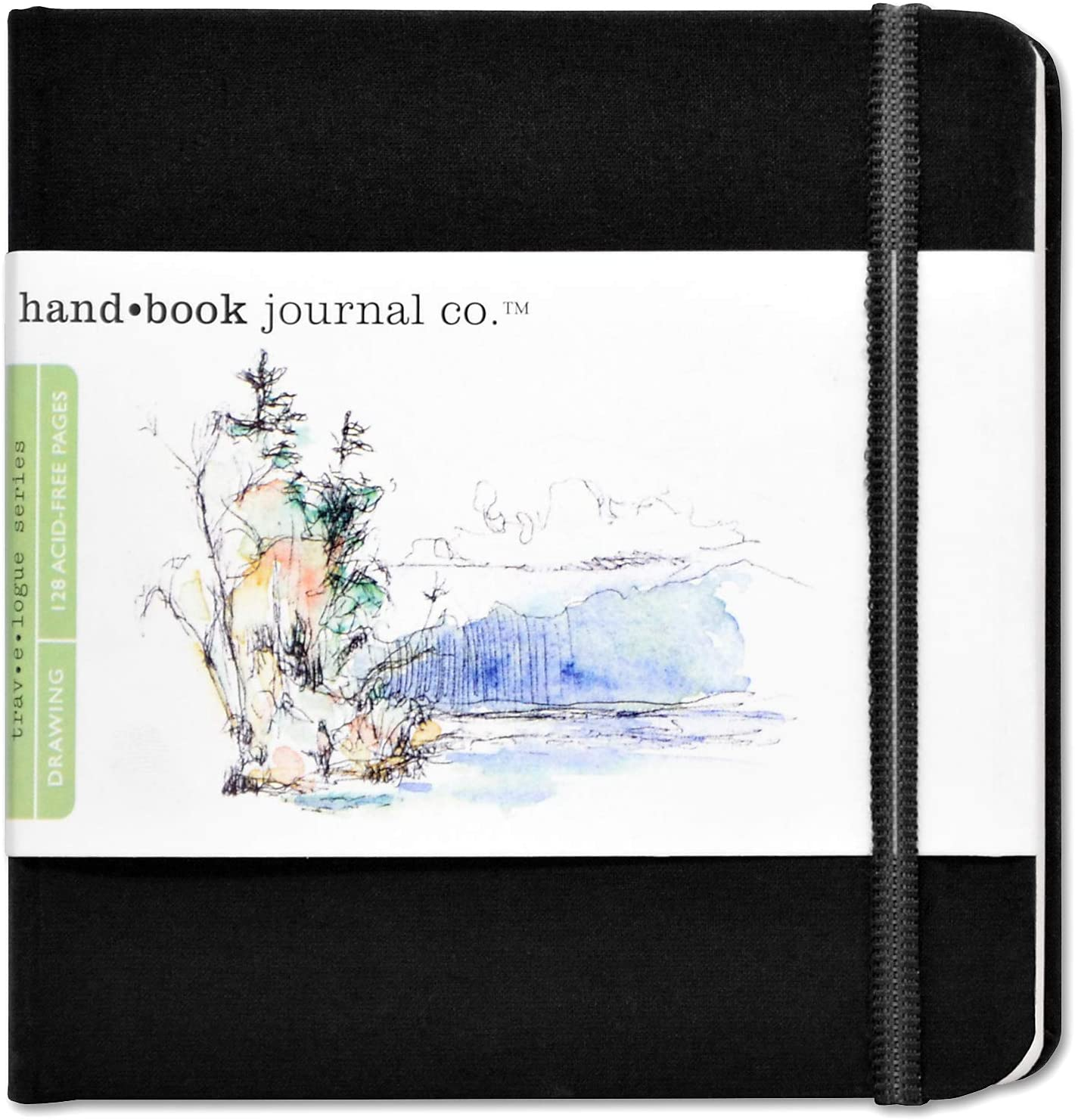 Travelogue Drawing Book, Square 5-1/2 x 5-1/2, Ivory Black Artist Journal: Arts, Crafts & Sewing