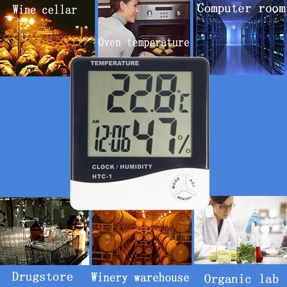 Mini Hygrometer with Time /& Alarm Clock Superban 714035795076 Domestic Temperature Humidity Monitor Meter YASSUN Digital Hygrometer Indoor Thermometer