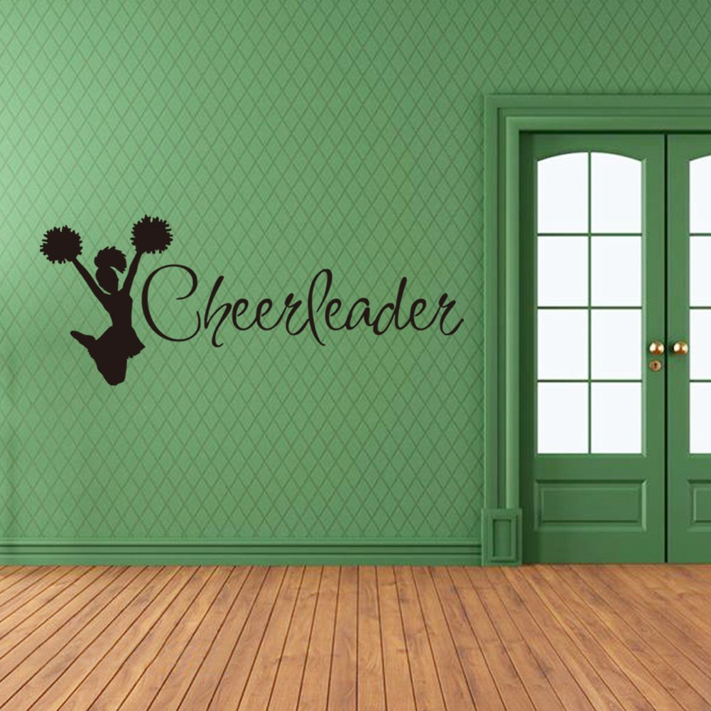 Boodecal Sport Series Cheerleader Silhouette Quote Wall Decal Mural Sticker Decor for Nursery Bedroom Living Room 41*16 Inches (41*16 Inches)