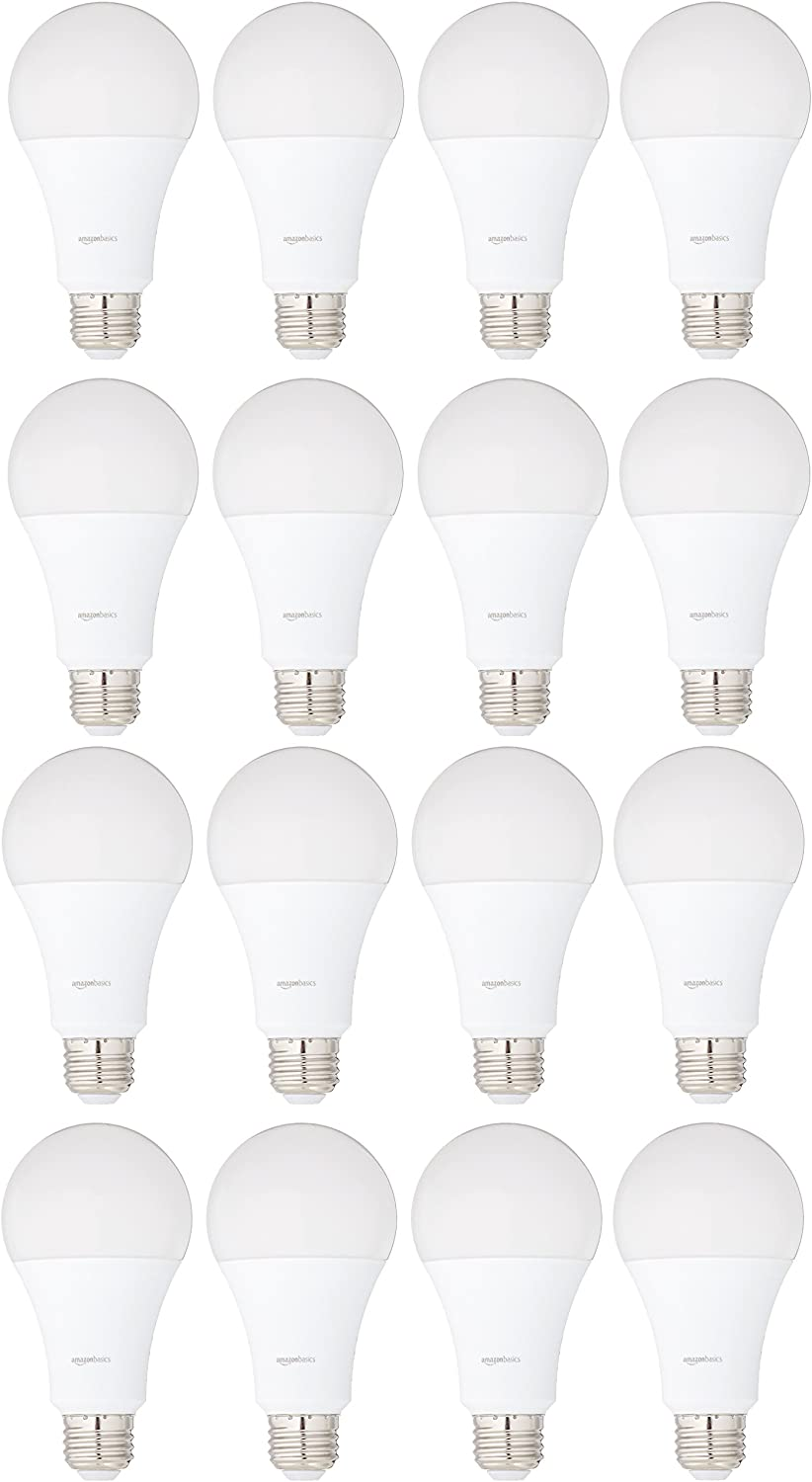 AmazonBasics 100 Watt Equivalent, Daylight, Non-Dimmable, 15,000 Hour Lifetime, A21 LED Light Bulb | 16-Pack
