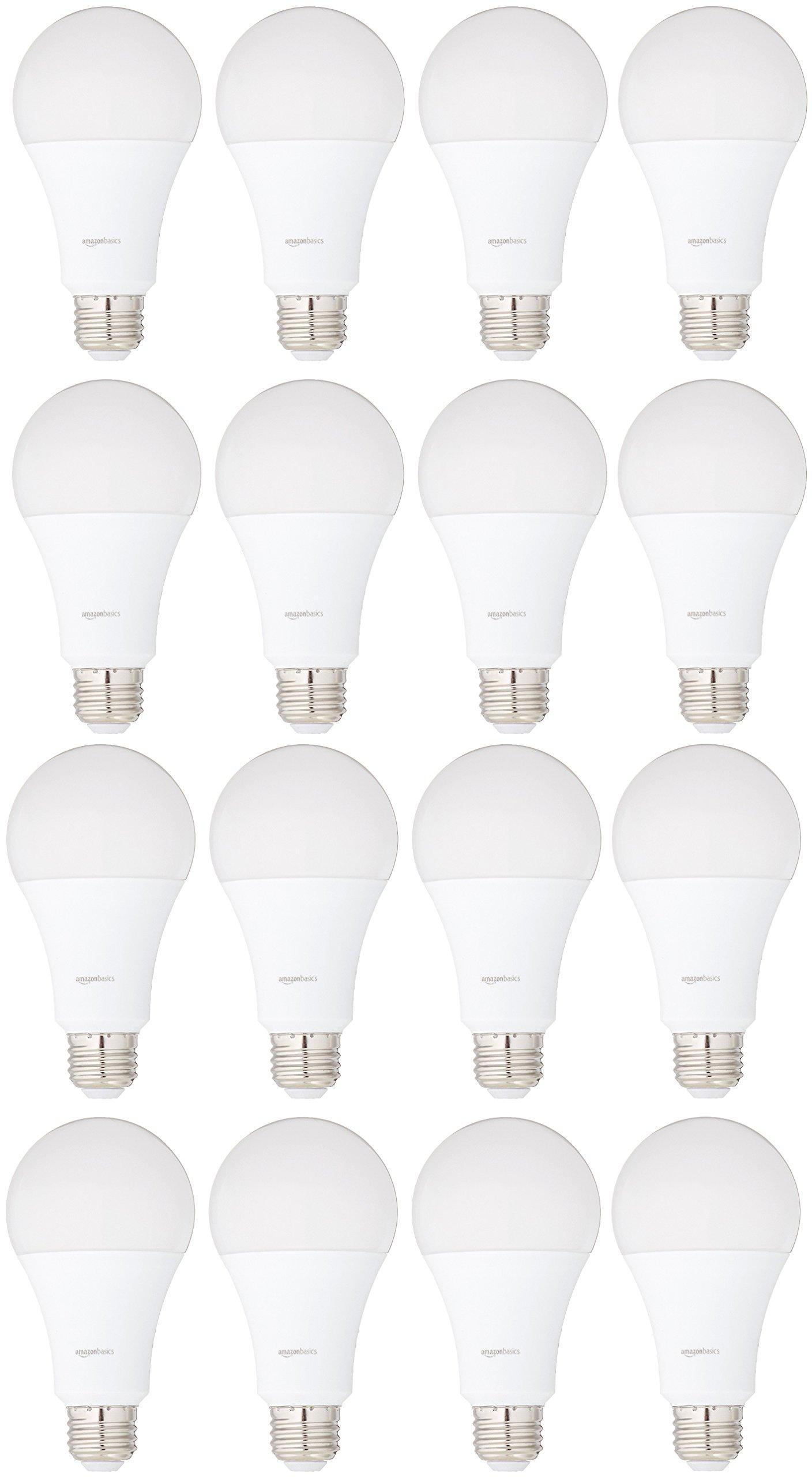 AmazonBasics 100 Watt Equivalent, Daylight, Non-Dimmable, A21 LED Light Bulb | 16-Pack