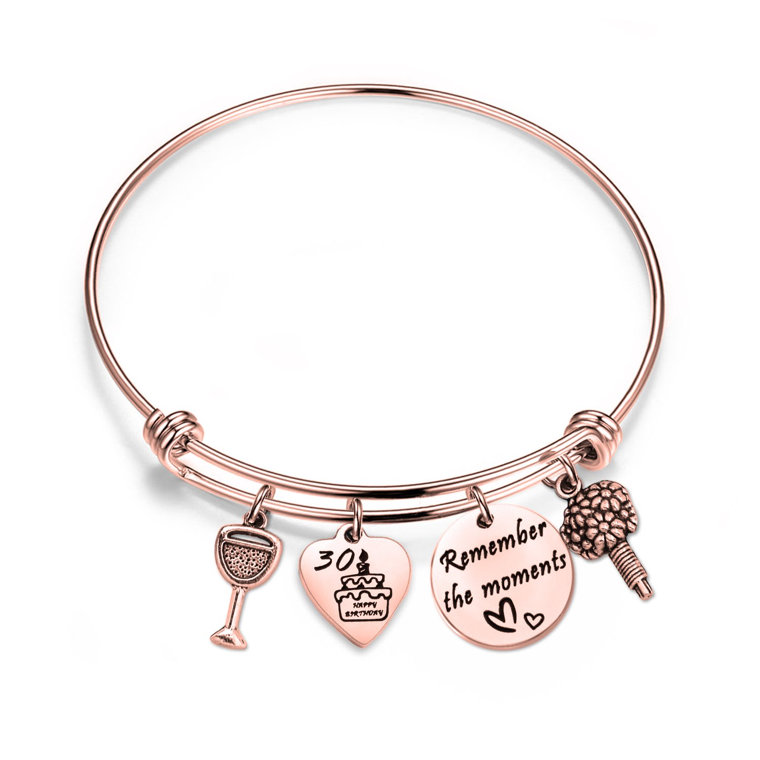 bobauna Birthday Gift for Sweet 16 18th 21st 30th Rose Gold Stainless Steel Expandable Wire Bangle Bracelet (30th bracelet RG)