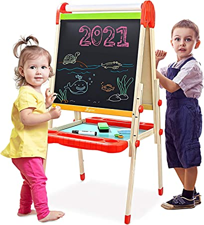 Large Storage Tray Drawing Board Educational Toy w//Art Accessories Honey Joy Kids Easel Standing Double Sided Magnetic Dry White Board /& Chalkboard Height /& Angle Adjustable Blue, Height:26 in