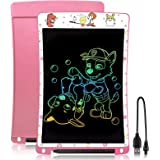 Drawing Tablet, 10 Inch LCD Writing Tablet Rechargeable Doodle Board Color Scribble Notepad for Kids Ages 3+(Pink)