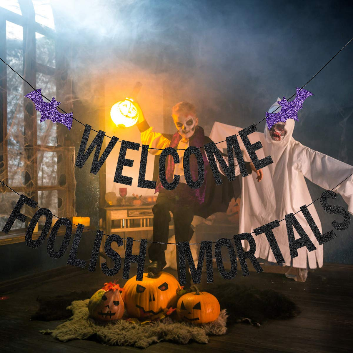 Black Glittery Welcome Foolish Mortals Banner,Halloween Party Decorations,Mantle Home Decorations