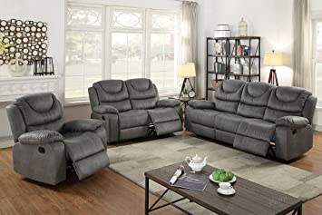 Amazon.com: 3Pcs Slate Grey Leather Motion Sofa Loveseat ...
