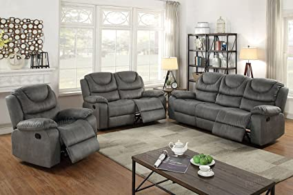 Amazon.com: 3Pcs Slate Grey Leather Motion Sofa Loveseat Chair ...
