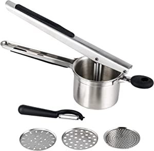 Hhyn Stainless Steel Potato Ricer and Masher, Heavy Duty Large Capacity Potato Presser with 3 Interchangeable Discs, Great for Smooth Creamy Mashed Potatoes, Fruits, Vegetables and Baby Food