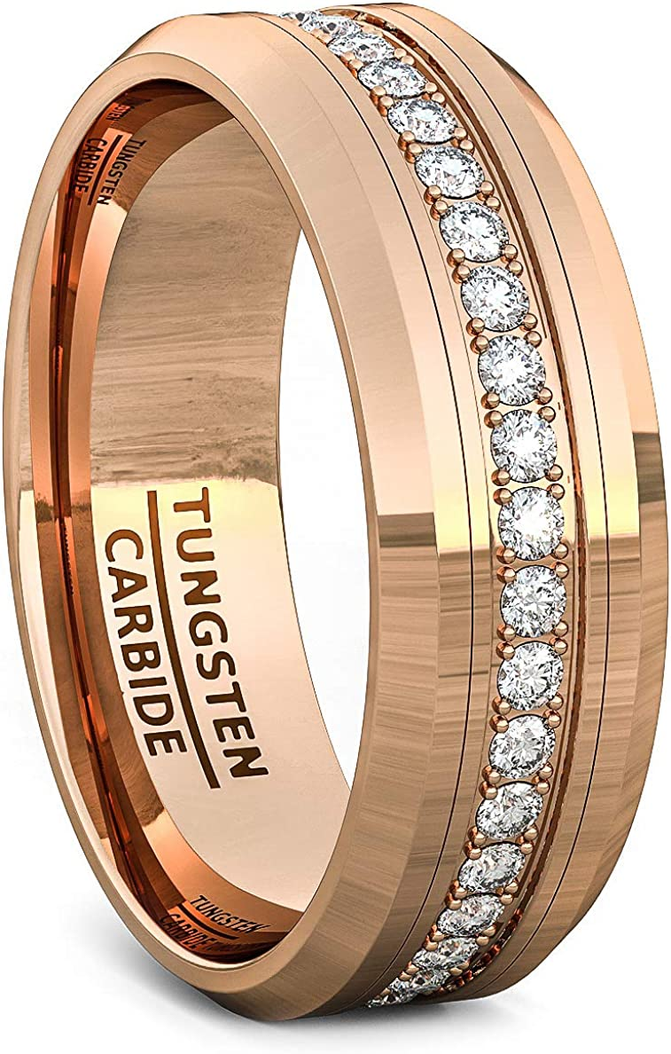 Duke Collections 8mm Rose Gold Tungsten Ring for Men Polished Mens Wedding Band Fully Stacked Cubic Zircon Tungsten Carbide Beveled Edge Comfort Fit