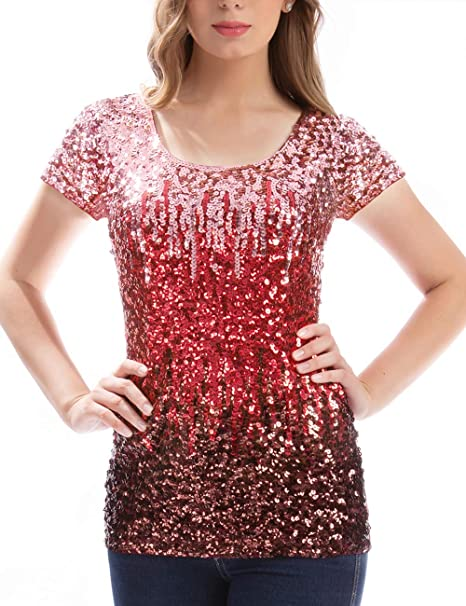 catch most desirable fashion new concept MANER Women's Full Sequin Tops Glitter Party Shirt Short Sleeve Sparkle  Blouses S-3X