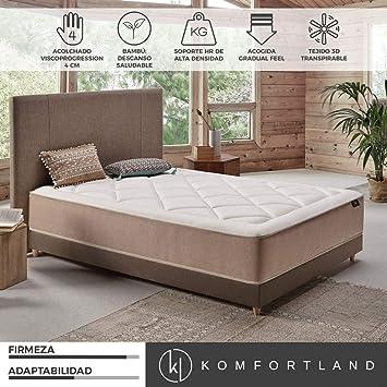 Komfortland Colchón 135x190 viscoelástico Naturcell de Altura 30 cm, 4 cm de ViscoProgression Bambú