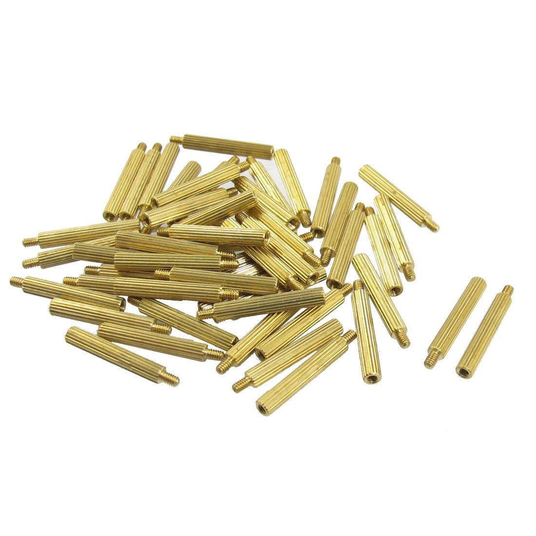 50 pezzi oro maschio esagonale femmina PCB angoli distanziatori M 2 x 19 mmx22mm sourcing map a13010800ux0383