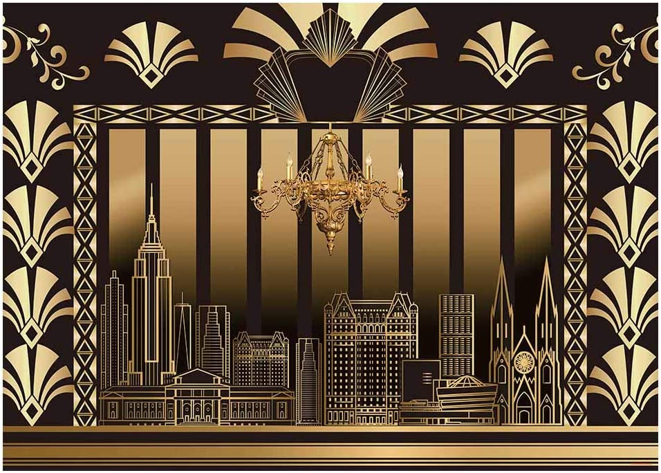 Funnytree 7x5FT Roaring 20s Photography Backdrop The Great Gatsby Background Vintage Dance Birthday Wedding Party Decoration Photo Booth Banner Supplies Printed