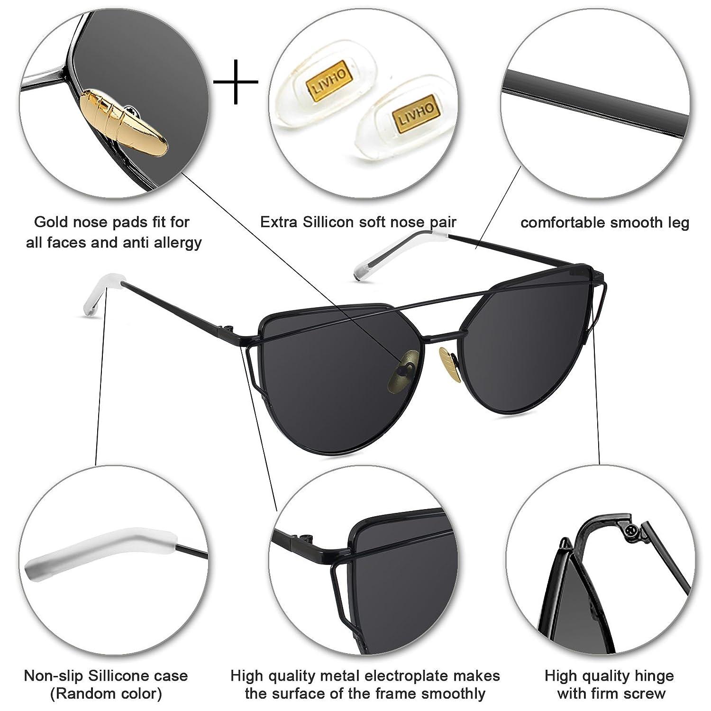 LIVHÒ Occhiali da Sole Donna a Specchio Modello Occhi di Gatto/Struttura in Metallo Protezione UV400 (Oro e Giallo) lWhUw8