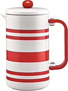 BonJour Hot Beverage Ceramic French Press Coffee Maker with Flavor Lock Filter and Bamboo Handle, 32 Ounce, Red Stripes