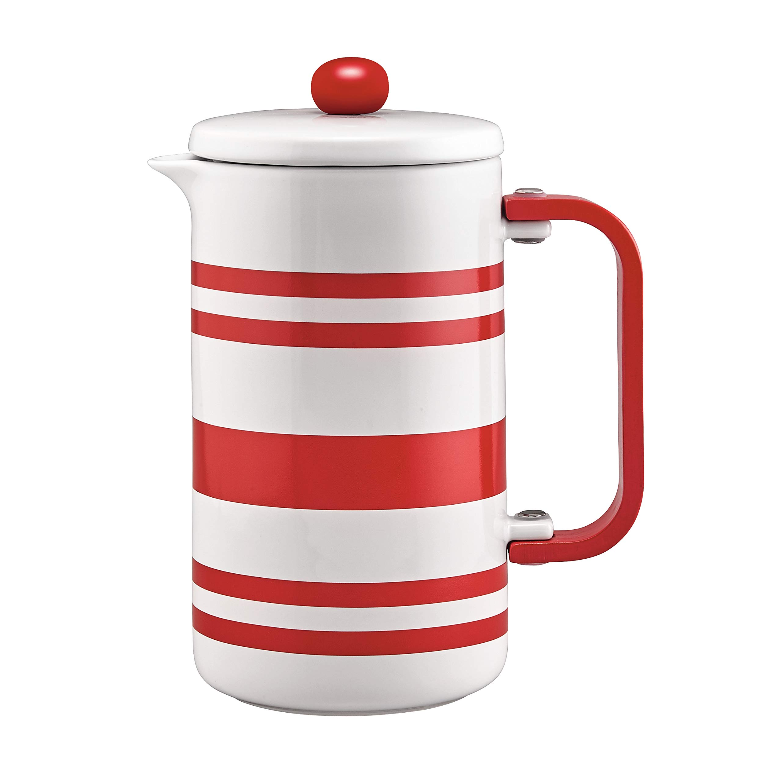 BonJour Stoneware French Press, 8-Cup, Red Stripes