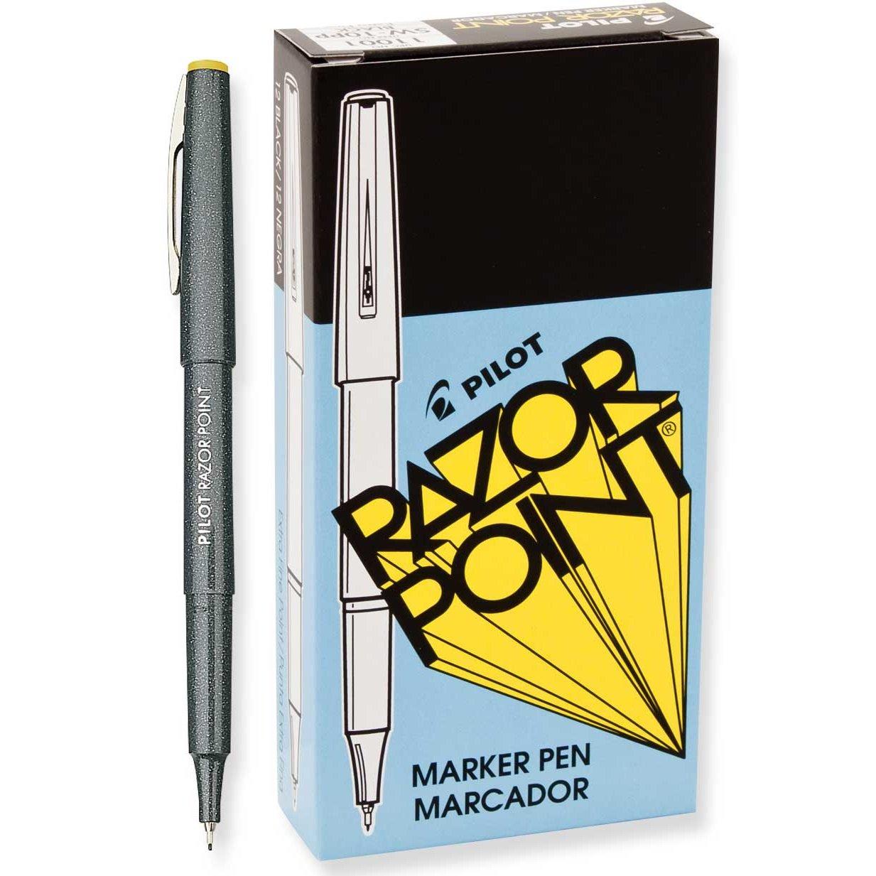 Pilot Razor Point Pens, Extra-Fine Point, 0.3 mm, Black Barrel, Black Ink, Pack of 12 Pens by Pilot