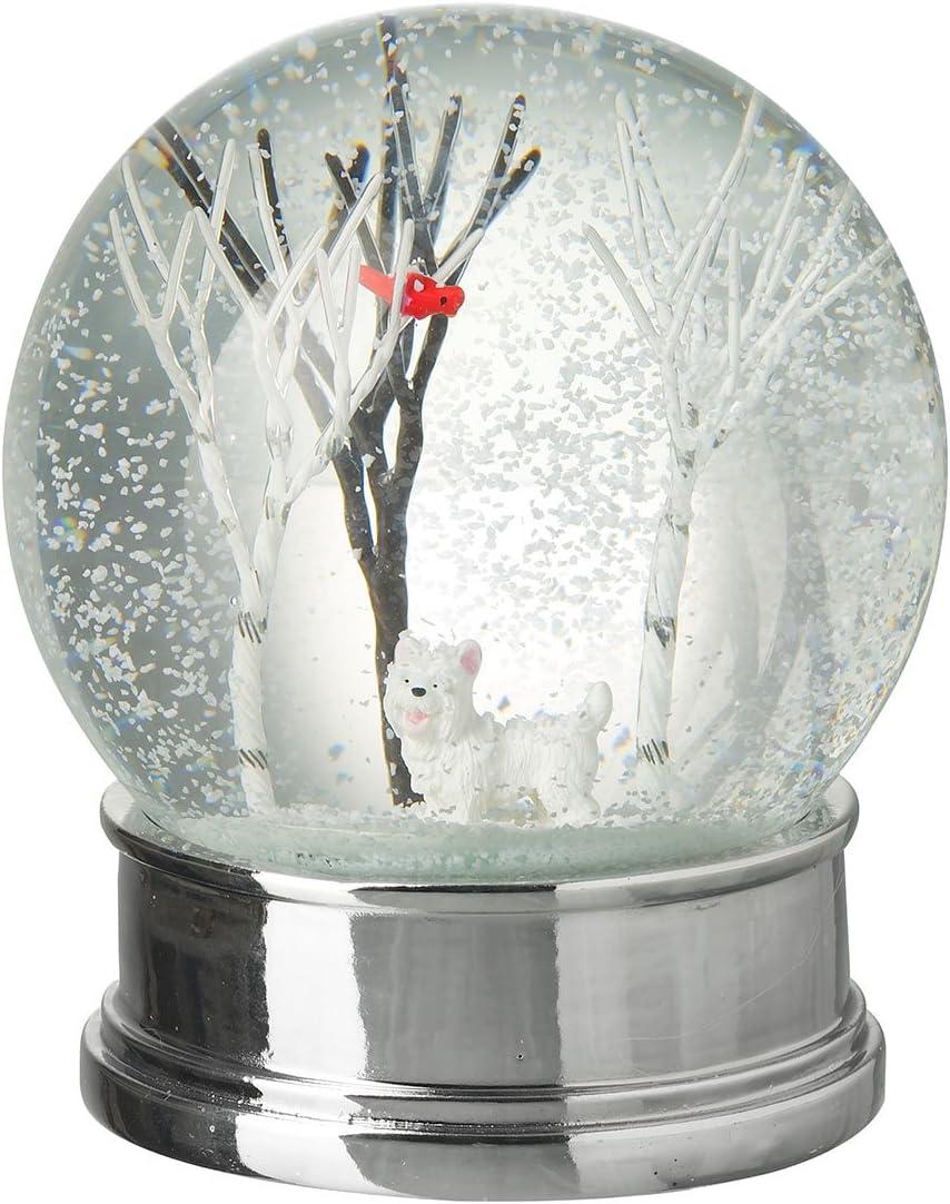 Boule à neige–Magnifique scène dhiver composée d'un petit chien blanc et d'arbres Heaven Sends