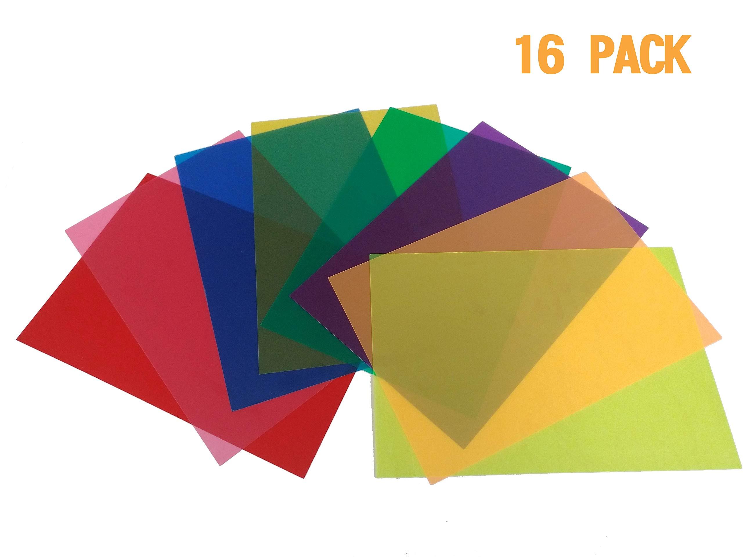 Best Starloop 16 Pack Light Gels Colored Overlays Transparency Color Film Plastic Sheets Correction Gel Light Filter Sheet, 8.5x11 Inch,8 Assorted Colors 2 Sets