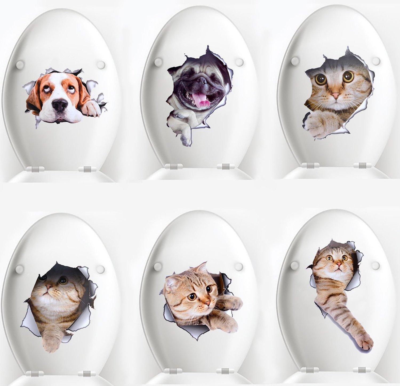 Toilet Stickers,Coxeer 6 PACK 3D Creative Cat kitten Toilet Seat Stickers Funny Multipurpose Bathroom Window Home Door Art Decal Stickers Mural Decor Legendog